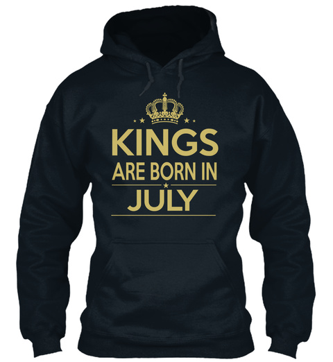 Kings Are Born In July French Navy T-Shirt Front