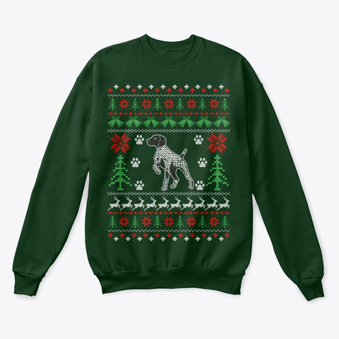 Shorthaired Pointer Christmas Sweater Deep Forest  T-Shirt Front