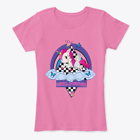 Unicorn Girl Power True Pink T-Shirt Front