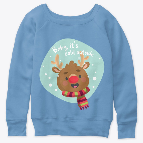 The Jolly Christmas Reindeer Blue Triblend  T-Shirt Front