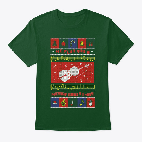 Cello Ugly Christmas Deep Forest T-Shirt Front