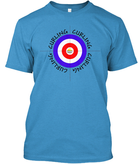 I Love Curling Sport T Shirt Heathered Bright Turquoise  T-Shirt Front