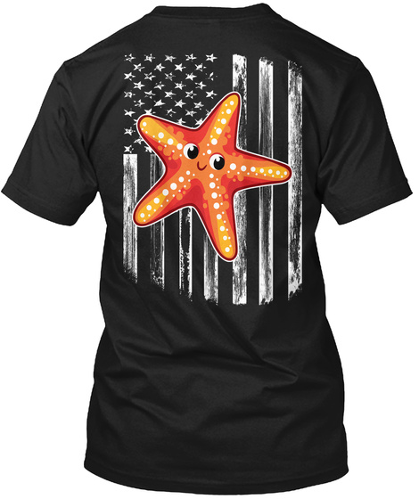 American Flag Starfish 4th Of July Shirt Black T-Shirt Back