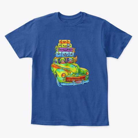 Monica Hulsing   Vintage Classic Car  Deep Royal  T-Shirt Front