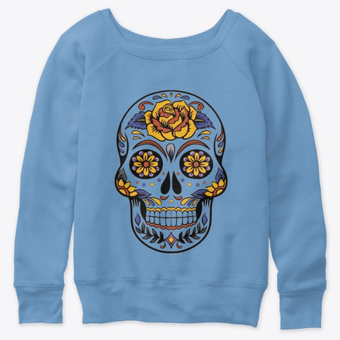 Skull With Roses   Day Of The Dead Blue Triblend  T-Shirt Front