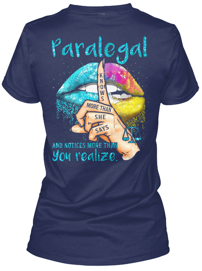 Awesome Paralegal Navy T-Shirt Back