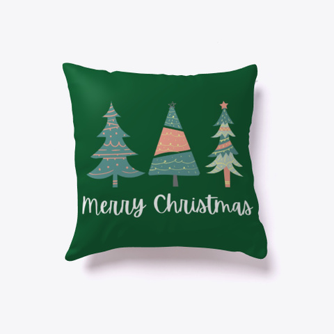 Merry Christmas Boho Trees Dark Green T-Shirt Front