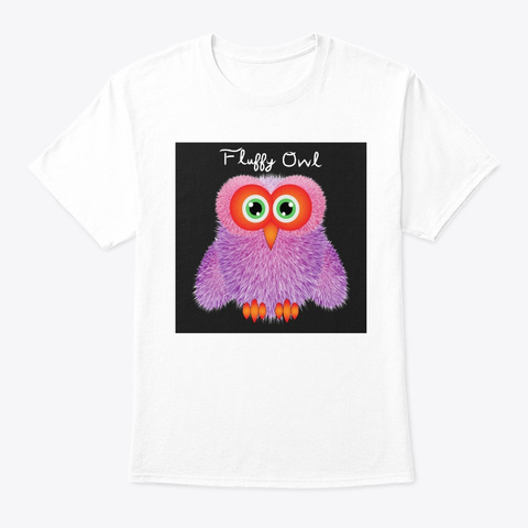 Cute Soft Fluffy Owl  In Pink And Purple White T-Shirt Front