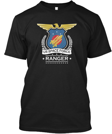 Us Space Force Crew Member Art For Black T-Shirt Front