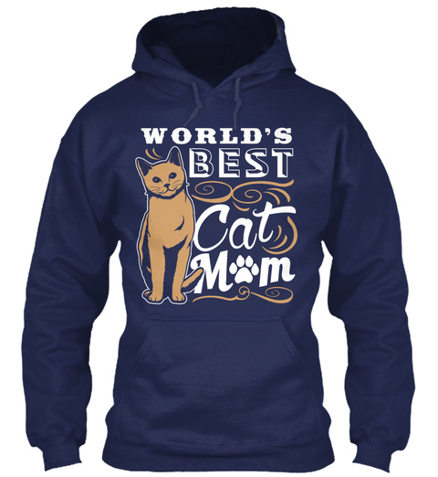 Worlds Best Cat Mom Navy Felpa Front