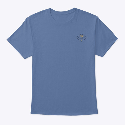 Curved Palms Denim Blue T-Shirt Front