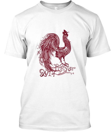Chinese New Year  Red Rooster 2017 White T-Shirt Front