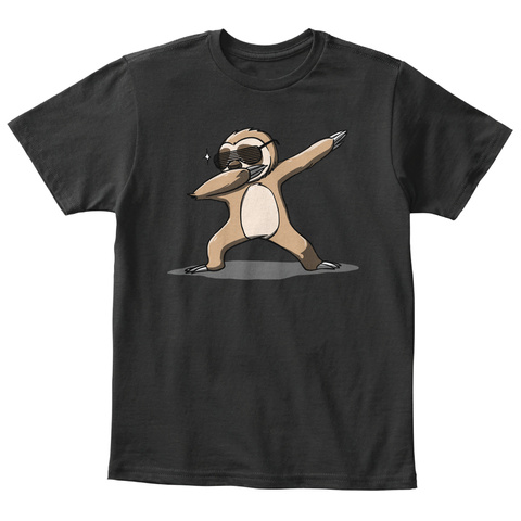 Cute Dabbing Sloth Hipster Hip Hop Black T-Shirt Front