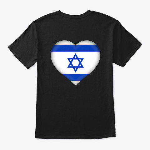 Israel Heart T Shirt Black T-Shirt Back