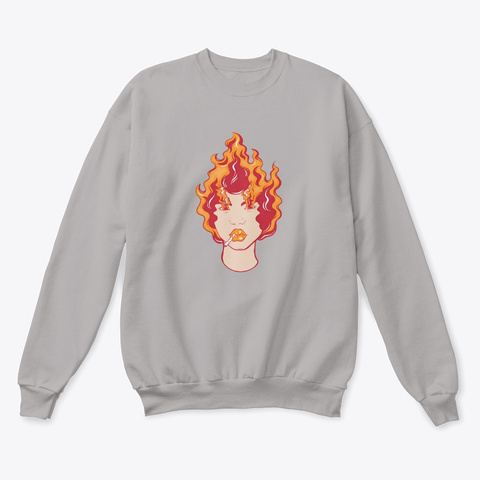 Fire Girl Sweatshirt Light Steel  T-Shirt Front