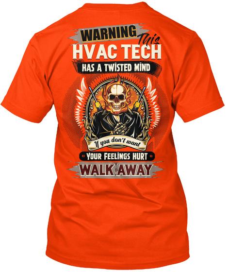 Crazy Hvac Tech Shirt Orange T-Shirt Back