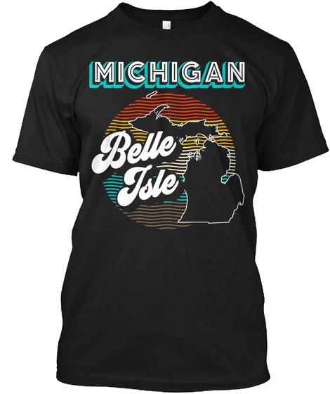 Belle Isle Retro Black T-Shirt Front