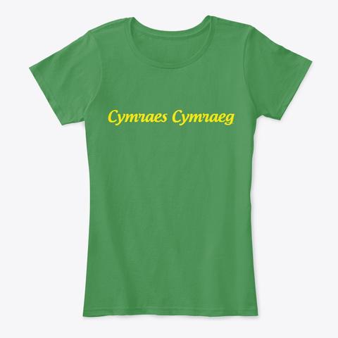 Women's Fitted Cymraes Cymraeg Tee Kelly Green  T-Shirt Front