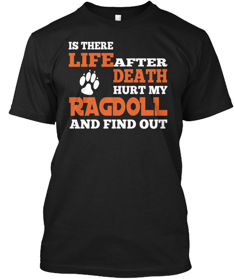 Is There Life After Death Hurt My Ragdoll And Find Out Black T-Shirt Front