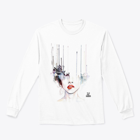 Crazy Art Classic Long Sleeve Tee White T-Shirt Front