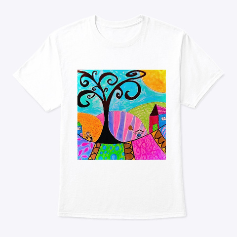 Whimsy Town Naive Art White T-Shirt Front