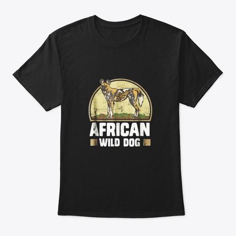 African Wild Dog Shirt Black T-Shirt Front