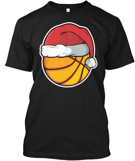 Christmas Xmas Basketball Santa Holiday Black T-Shirt Front