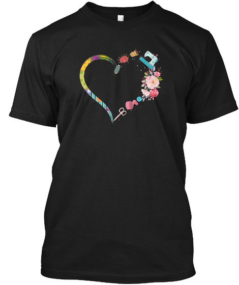 Quilting Sewing My Heart Lover T Shirt Black T-Shirt Front