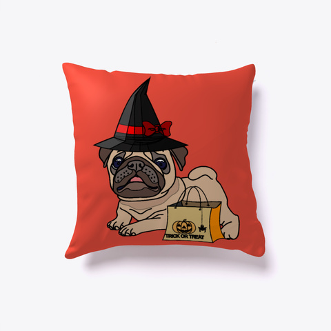 Witchy Halloween Pug Pillow Red T-Shirt Back