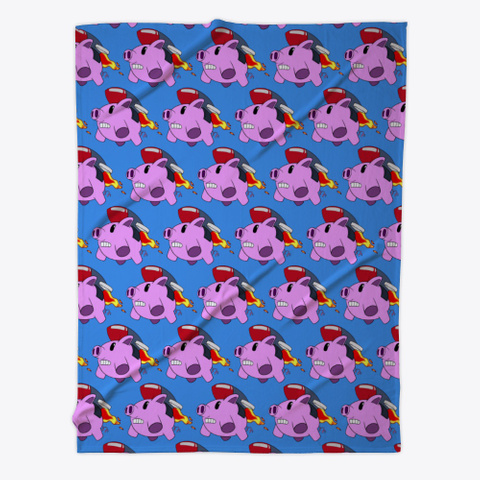 Flying Pigs Fleece Blanket Denim Blue T-Shirt Front