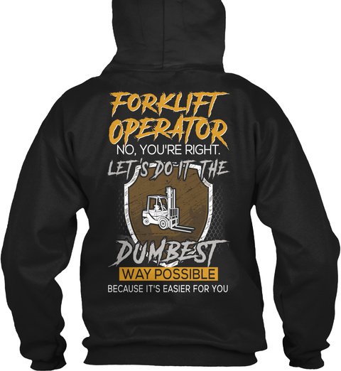 Awesome Forklift Operator Black T-Shirt Back