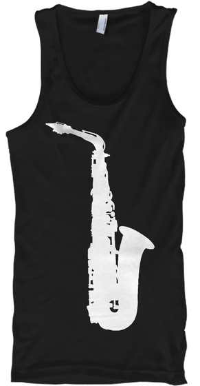 Alto Saxophone Tank Top Black T-Shirt Front