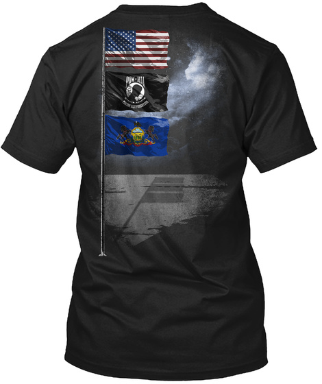 Pennsylvania Pow/Mia Flagpole Black T-Shirt Back