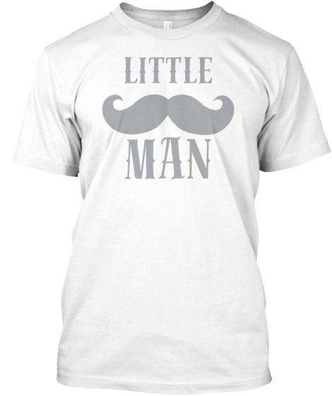 Baby Cute Little Man Beard Hipster White T-Shirt Front