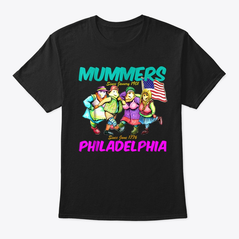 Philadelphia Mummers New Year's Day Para Black T-Shirt Front