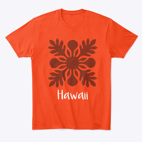 Hawaiian Motif2 Deep Orange  T-Shirt Front