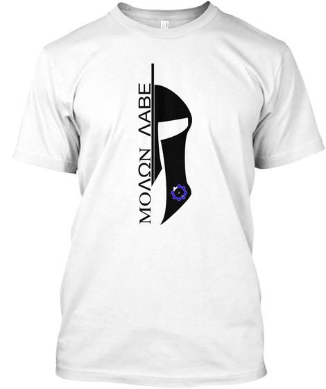 Spartan Defender, Molon Labe White T-Shirt Front