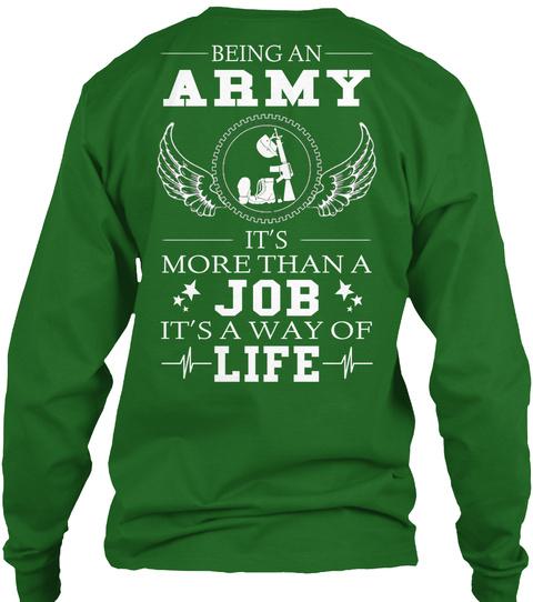 Being An Army It's More Than A Job It's A Way Of Life Irish Green T-Shirt Back