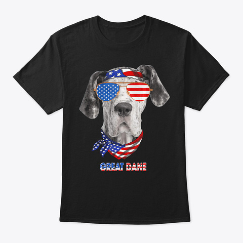 American Flag Shirts Great Dane Dog Love Black T-Shirt Front