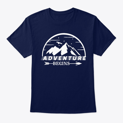 Adventure Begins Navy T-Shirt Front