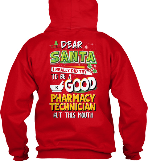 Pharmacy Technician Christmas Special Red T-Shirt Back