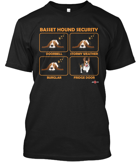 Basset Hound Security Doorbell Stormy Weather Burglar Fridge Door Black T-Shirt Front