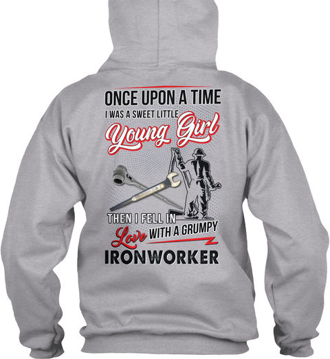 Cute Ironworker's Lady Sport Grey T-Shirt Back