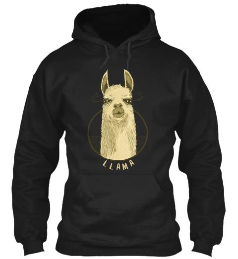 Llama Black T-Shirt Front