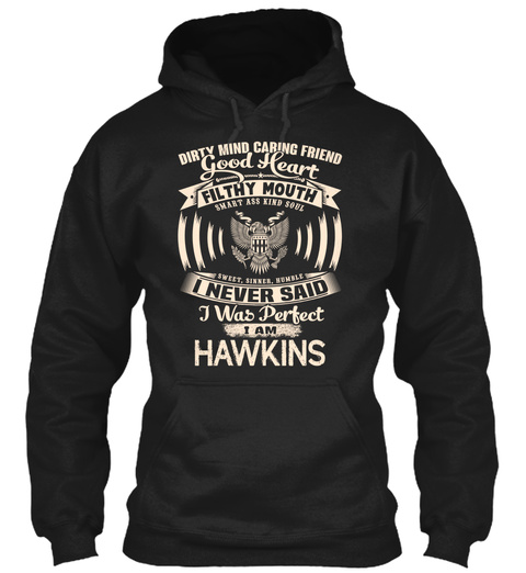 Hawkins Name Perfect Black T-Shirt Front