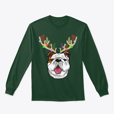 Xmas Funny Bulldogs With Antlers Xmas Forest Green T-Shirt Front