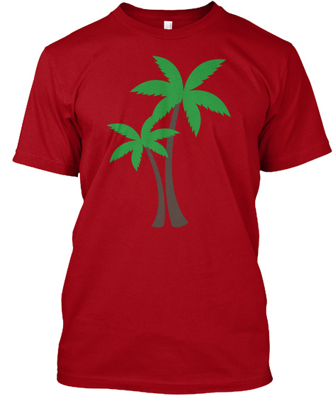 Palm Trees Deep Red T-Shirt Front