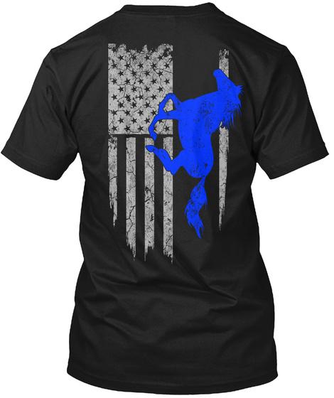 Horse Riding   Usa Flag Black T-Shirt Back