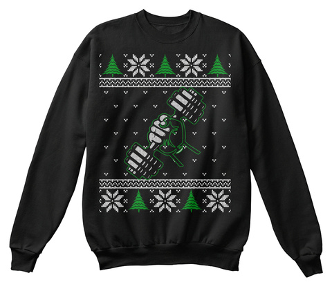 Fitness Lovers Ugly Christmas Sweater Black T-Shirt Front