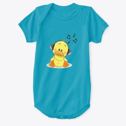 Music Duck Turquoise T-Shirt Front
